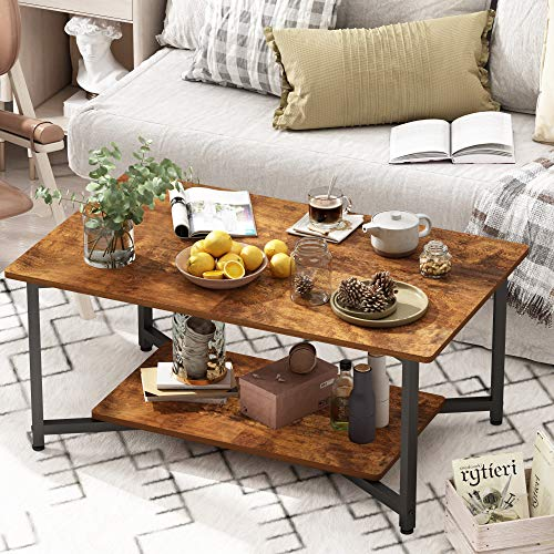 JOISCOPE Mesa de café, Mesa de café de Capa Superior e Inferior de diseño Industrial, Apto para...
