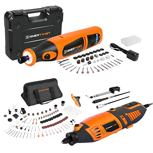 EnerTwist ET-RT-170 1.4A Rotary Tool and ET-RT-8 8V Cordless Rotary Tool Combo Kit