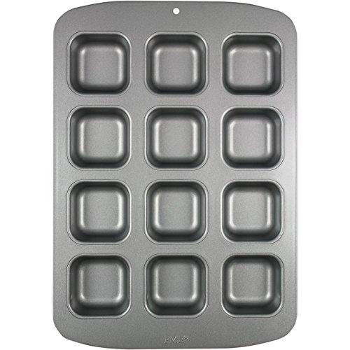 PME CSB106 Moule Anti-adhérent en Acier au Carbone pour 12 Mini Pains Carrés, Silver, 37,3 x 26,1 x 3,1 cm