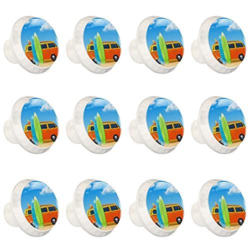 (12 piezas) pomos de cajón para cajones, tiradores de cristal para gabinete con tornillos para armario, oficina, autobús con tablas de surf de 35 mm