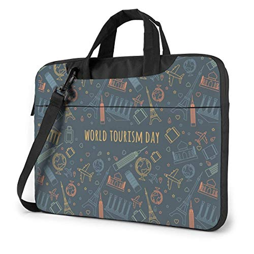 15.6 inch Laptop Shoulder Briefcase Messenger World Travel Day Attractions Icon Tablet Bussiness Carrying Handbag Case Sleeve