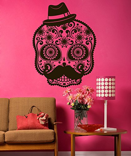 Stickerbrand Vinyl Wall Decal Sticker Mustache Sugar Skull 1490s