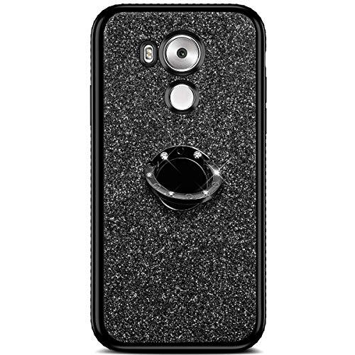 Qjuegad Compatible avec Huawei Mate 8 Silicone Coque, [360 Rotation Bague Support] Bling Paillette Glitter Strass Housse de Protection Coque Silicone TPU Téléphone Etui, Noir