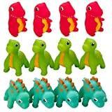 Kicko Rubber Dinosaur Squirt Toy - Set of 12 Water Squirties for Kids Party Favors, on Birthdays, Baby Showers, Bath Companion for Summer Beach and Pool Activity, Sensory Toy