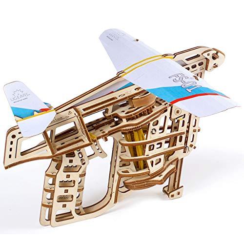 UGEARS Flugzeug-Starterrampe 3D Modellbausatz - Modellbaukästen für Erwachsene Jugendliche - Lasergeschnittener 3D Puzzle Holzbausatz Kreatives 3D Holzpuzzle Erwachsene Modellbau Set ohne Klebstoff