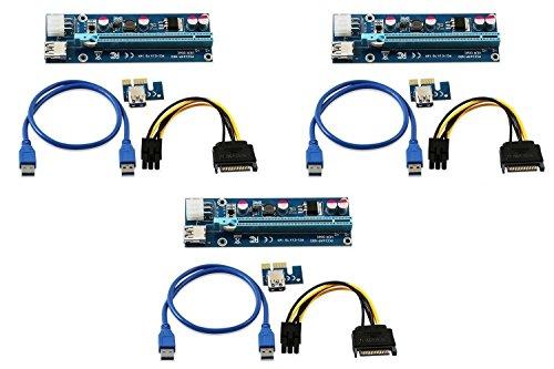 LONGXI (paquete de 3 unidades de 6 pines PCI-E PCI Express Riser...