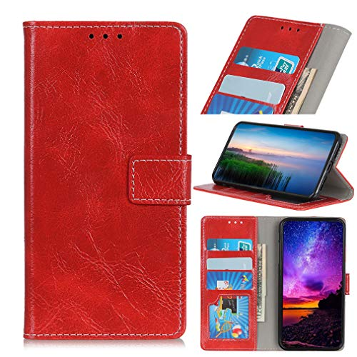 LMFULM® Hülle für Alcatel 3 2019 / 3L 5034D (5,94 Zoll) PU Leder Magnet Brieftasche Lederhülle Retro Crazy Horse Muster Stent-Funktion Ledertasche Flip Cover für Alcatel 3 / 3L Rot