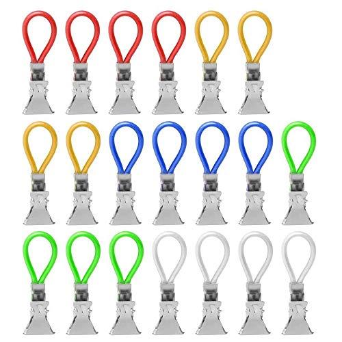YGHH 20 Piezas Clips Toalla, Clips de Toalla de Té, Clip Toallas Cocina, Clips de Soporte de Toallas, Metal Cocina Multifuncional Clip Soporte Toalla Té para Toalla Playa, Ropa, Cocina (5 Colores)