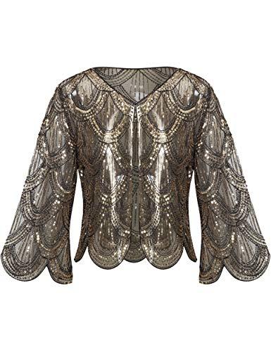 Coucoland - Pañuelos para mujer, estola para vestido de noche, estilo retro de los años 20, vintage, boda, mujer, bufanda, bandolera, cubierta, accesorio de disfraz negro y dorado Talla única