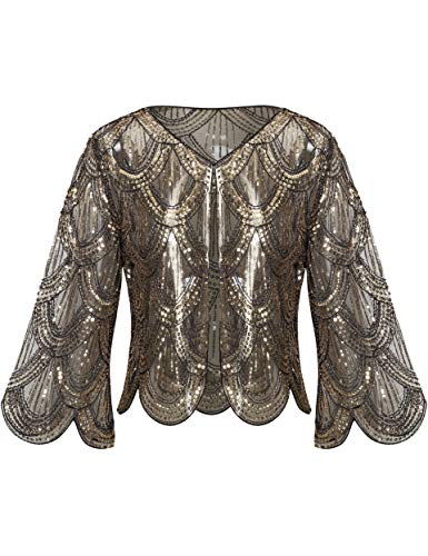 Coucoland - Pañuelos para mujer, estola para vestido de noche, estilo retro de los años 20, vintage, boda, mujer, bufanda, bandolera, cubierta, accesorio de disfraz