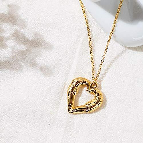 VAWAA Collar Colgante de Oro corazón Pluma de Acero Inoxidable alas Collares de corazón Collares de joyería para él