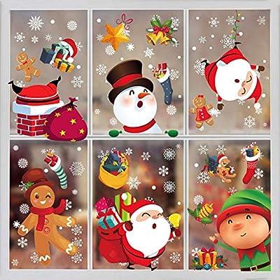 Funnlot Christmas Window Clings-Christmas Window Stickers 8 Sheets Christmas Window Decorations Xmas Santa Window Decals Clings for Glass Window