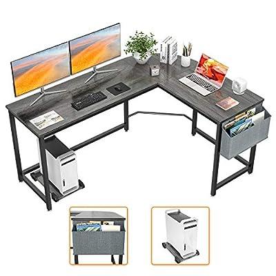 Homfio L Shaped Desk 58'' Computer Corner Desk Gaming Desk PC Table Writing Desk Large L Study Desk Home Office Workstation Modern Simple Multi-Usage Desk with Storage Bag, Black Oak