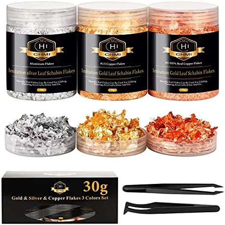 CHMI - Gold Foil Flakes for Resin, Jewelry Making, Imitation Gold Foil Flakes Metallic Leaf for Nails, Painting, Crafts, Slime and Resin Jewelry Making (Gold, Silver, Copper Colors)
