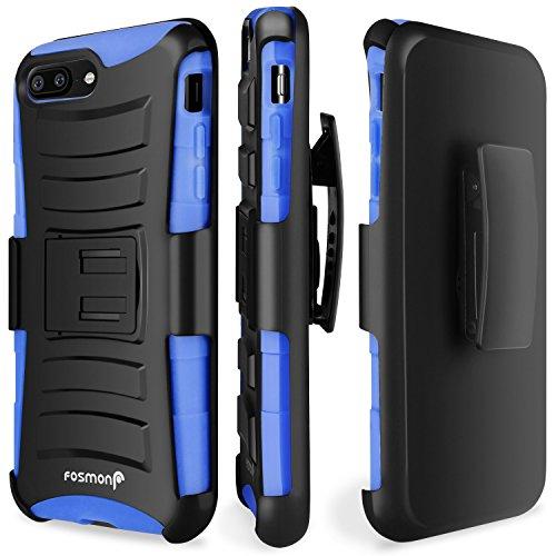 Custodia per iPhone 8 Plus / 7 Plus, Fosmon STURDY [Clip di cintura girevole di bloccaggio | cavalletto] custodia antiurto robusto resistente per Apple iPhone 8 Plus / 7 Plus (Blu)