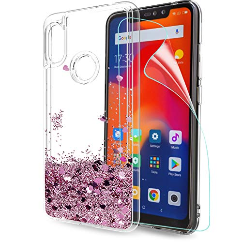 LeYi Funda Xiaomi Redmi Note 6 Pro Silicona Purpurina Carcasa con HD Protectores de Pantalla, Transparente Cristal Bumper Telefono Gel TPU Fundas Case Cover para Movil Redmi Note 6 Pro ZX Oro Rosa