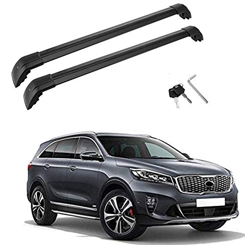 MotorFansClub Roof Rack Cross Bars Fit for Compatible with KIA Sorento 2015 2016 2017 2018 Crossbars Baggage Cargo Luggage Aluminum Black