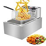 2500W 6L Electric Deep Fryer Thicken Stainless Steel Single Tank with Drain Timer