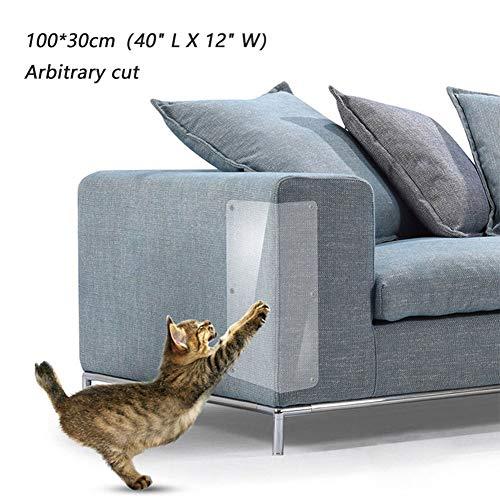 Oversized 2 Packs Scratch Cat Pad Zelfklevende Transparante Sticker, Arbitrisch Knippen, Pet Couch Protector Guards, Bescherming Meubilair van Cat Scratching, 100 x 30 cm.