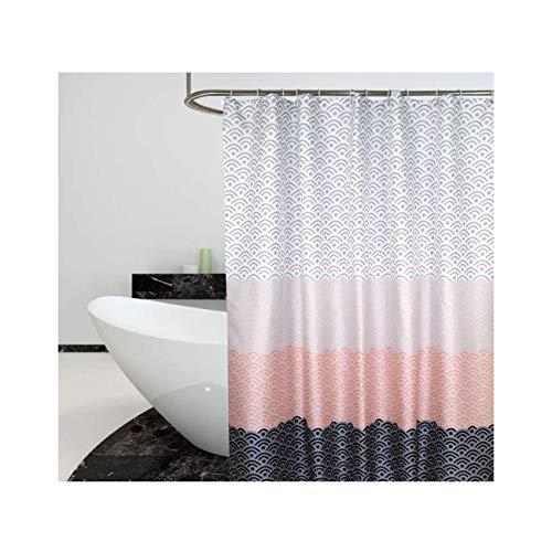 AueDsa Duschvorhang Polyester Waschbar Wasserdicht Vorhang Wellen Schwarz Rosa Grau Duschvorhang Antischimmel Wasserdicht 100x180CM