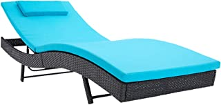 Incbruce Outdoor Patio Furniture Adjustable Chaise Lounge Chair Set All-Weather Sun Chaise Lounge Furniture, Black Wicker and Turquoise Thick Cushion
