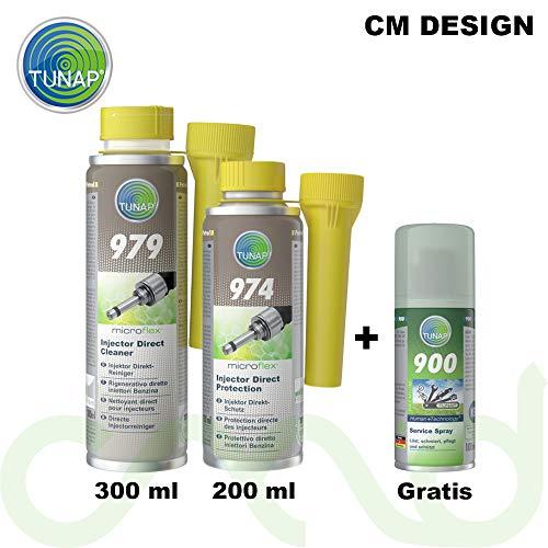 Tunap Microflex 979 - Juego de limpiador directo de inyectores de gasolina, 300 ml + 974, protección directa, gasolina