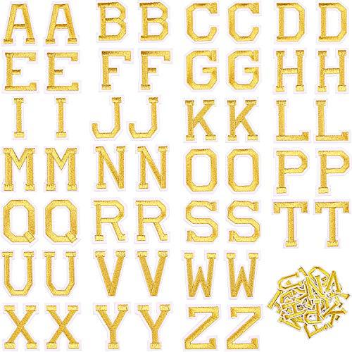 Boao 52 Stück Alphabet Applikationen Patches, Buchstaben Annähen Applikationen oder Aufbügeln Patches mit Gesticktem Patch A-Z Buchstaben Abzeichen Dekorativ Reparatur Patches (Gold)