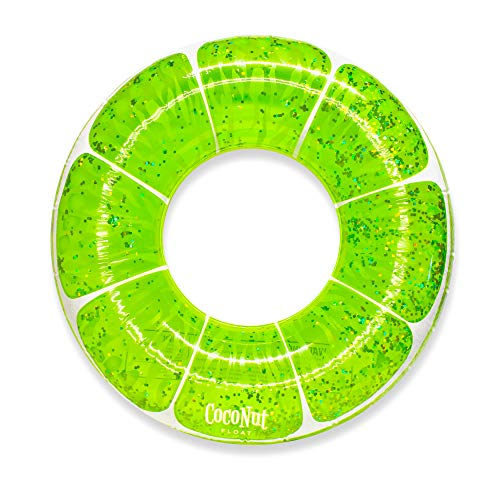 Coconut Float Lime Green Glitter Pool Float Giant Inflatable Raft – Durable Long Lasting 3.5 Foot Lounge Tube & Water Toy – Colorful Decoration for Tropical Parties, Events – Ages 8+ Years