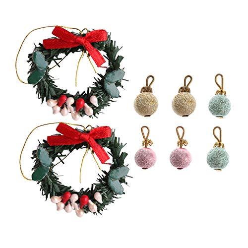 #N/A/a 1:12 Casa de Muñecas Corona Y Bolas árbol de Navidad Adornos Colgantes Fiesta
