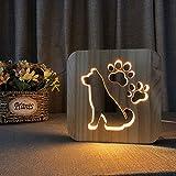 Lumières Sculpture Art du Bois Chien Lampe de Nuit LED Night Light pour Table Bureau en Forme de Chien Griffe avec Prise USB Veilleuse Créatif Cadeau de Fête