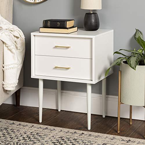 Walker Edison Evie Mid-Century Modern 2-Drawer Side Table Set, 2 Pack, White