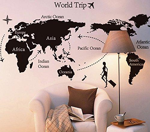 ufengke 'Viaggiare In Tutto Il Mondo' Mappa del Mondo Adesivi Murali, Camera da Letto Soggiorno Adesivi da Parete Removibili/Stickers Murali/Decorazione Murale, B