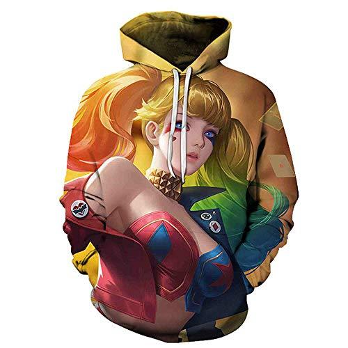 Suéter De Anime Suicide Squad Harajuku Sudadera con Capucha para Niños Y Niñas Impresión En 3D Hip Hop Pullover Sudadera De Todo Fósforo Caot-Aw714_L