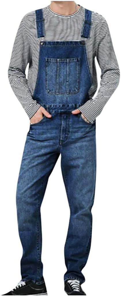 iCJJL Men's Overalls Distressed Washed Denim Bib Jumpsuit Slim Fit Ankle Length Ripped Jeans Coveralls with Pockets