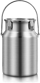 seau à lait en acier inoxydable Seau en acier inoxydable, seau d'eau en métal multifonctionnel avec couvercle pour le stoc...
