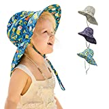 Baby Kids Sun Hat Adjustable Wide Brim Summer Beach Hats Fishing Cap UPF 50+ Sun Protection for Baby 2-5 Years (Blue)