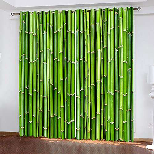 DRFQSK Cortinas Opacas Habitacion Y Salón Térmicas Aislantes Frío Y Calor Para Ventanas 2 Piezas 132 X 214 Cm(An X Al)Impresión Digital 3D Bosque De Bambú Verde Creativo Cortinas Infantiles Con Ojale