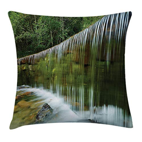 Throw Pillow Cases Decorative Soft Square, Waterfall in Forest Jungle Trees and Stones Natural Wide Majestic Stream,Throw Pillow Cover Cushion Case for Sofa 16x16 INCH