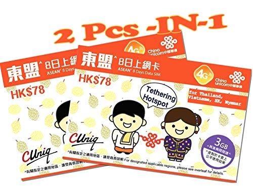 China Unicom - 2 stuks Thailand, Hong Kong, Vietnam, Myanmar, Cambodja, Laos, 3G/4G Prepaid Internet SIM-kaart (alleen daten) - 3GB gegevens (daarna gereduceerd tot 128Kbps) - 8 dagen - REGISTRIERD vrij