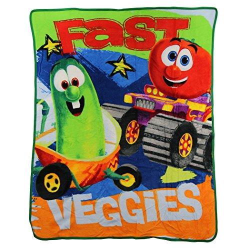 Northwest Kid's Colorful Character Micro Raschel Throw Blanket 46' x 60' (Veggie Tales Fast Veggies)