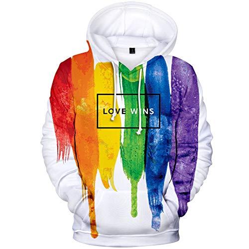 Bandera del Arco Iris, Camiseta LGBT, Sudadera con Capucha De Manga Larga De OtoñO De 2021, Jersey De ImpresióN Digital 3D, Talla Grande, Regala Una Pulsera/A/XXS