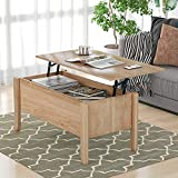 Danxee Coffee Table, Sofa Table, Lift Top Coffee Table with Storage, Retro Central Table with Wooden Lift Tabletop and Wood Frame for Living Room (Oak)