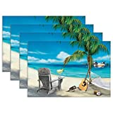 Yilooom Margaritaville Set of 4 Heat Resistant Stain Insulation Place Mats Anti-Skid Washable Canvas Table Placemats 12 X 18 Inch