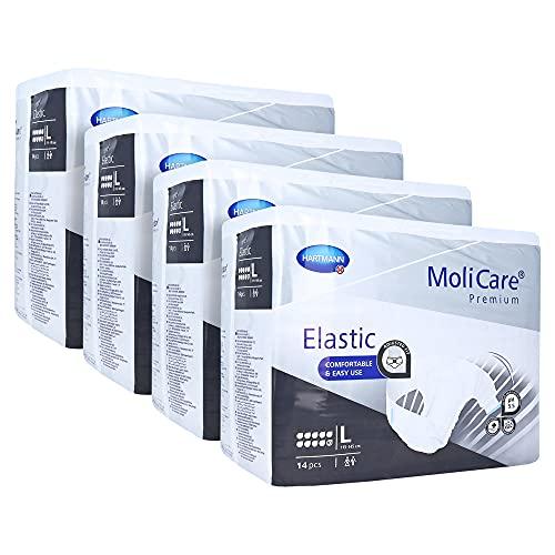 MoliCare Premium Elastic 10 Tropfen Größe L Karton (4 x 14 Stk.) Karton | Inkontinenz Windeln | Inkontinenz Slip | Inkontinenzhose (L)