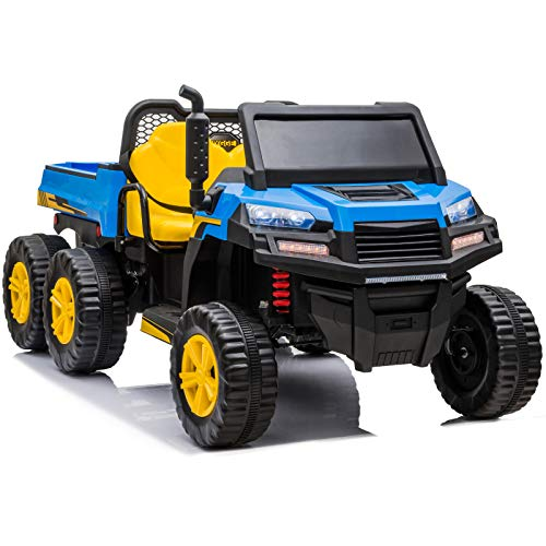 sopbost 12V 14Ah Ride on Truck 2 Seater Ride-on UTV with Large Dump Bed 6 Wheels Ride on Car for Kids with Remote Control, 4WD Ride on Toys with Headlight & Shift Knob for Toddler Tractor, Blue