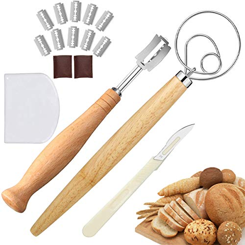 Danish Dough Whisk Large, Bread Lame for Scoring Sourdough Bread Easily, Scoring Bread Knife Set with 10 Replaceable Razor Blades, 2 Leather Protective Covers, Scraper, Plastic Dough Scraper(16pcs)