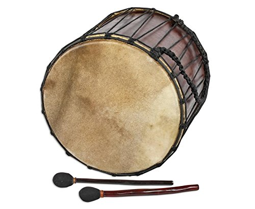 Basstrommel Mahagoni Ø 40 x 45-47cm Ziegenfell incl. 2 Sticks Bass Drum Medieval