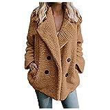 Vexiangni Chaqueta de invierno para mujer, elegante, larga, tallas grandes, con capucha, forro polar, abrigo de peluche, abrigo de forro polar, abrigo de otoño, abrigo con capucha, café, S