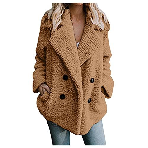 Vexiangni Chaqueta de invierno para mujer, de felpa de peluche, para mujer, corta, parte delantera abierta, de lana sinttica, abrigo corto, clido, crdigan, tallas grandes, marrn, S