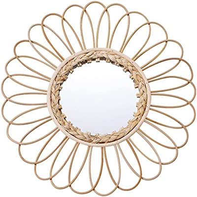 Wall Mounted Vintage Mirror 16 inch Rattan Decorative Wall Mirror for Makeup Living Room Bedroom Office Hotel